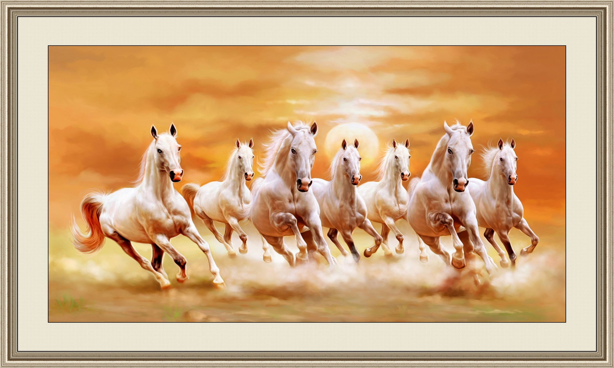 Horse Decor For The Home Vastu Seven Horses Painting Right Direction With Frame On