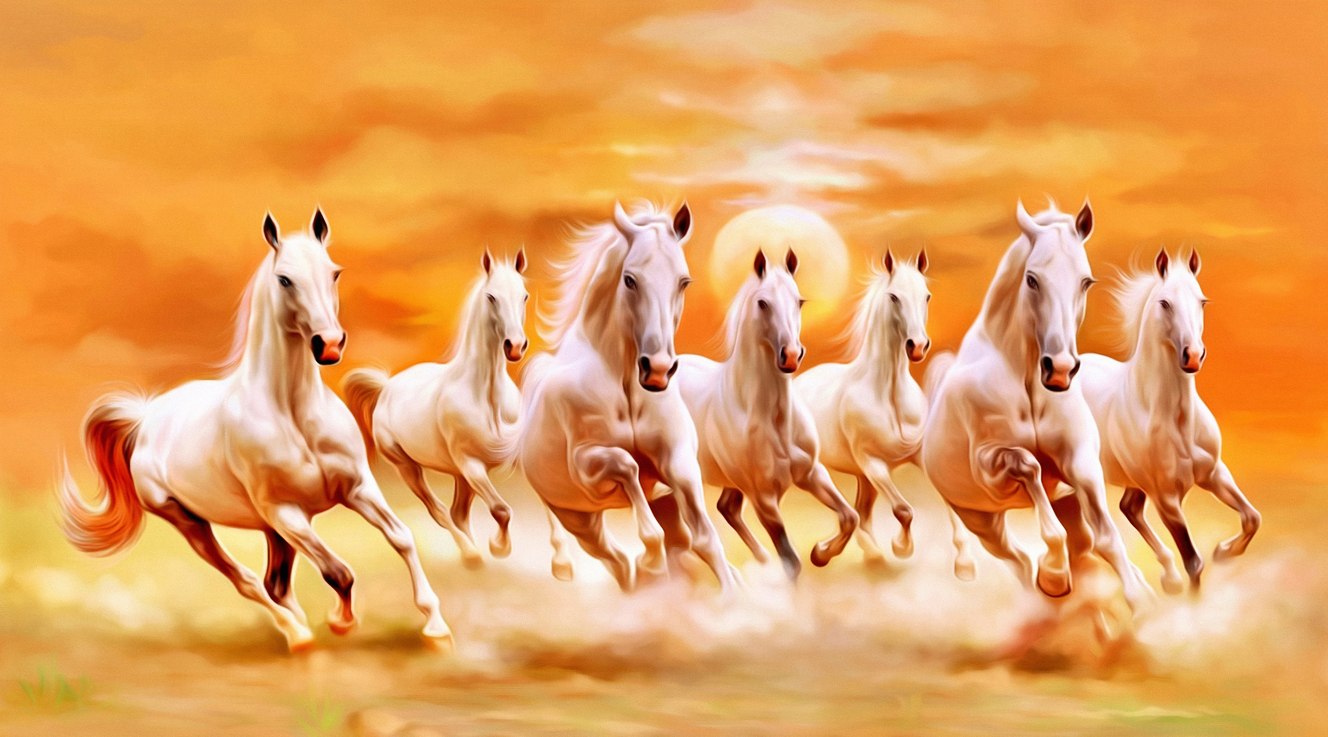 Seven Horses Canvas Painting As Per Vastu In Right Direction With Frame Shine India Handicrafts