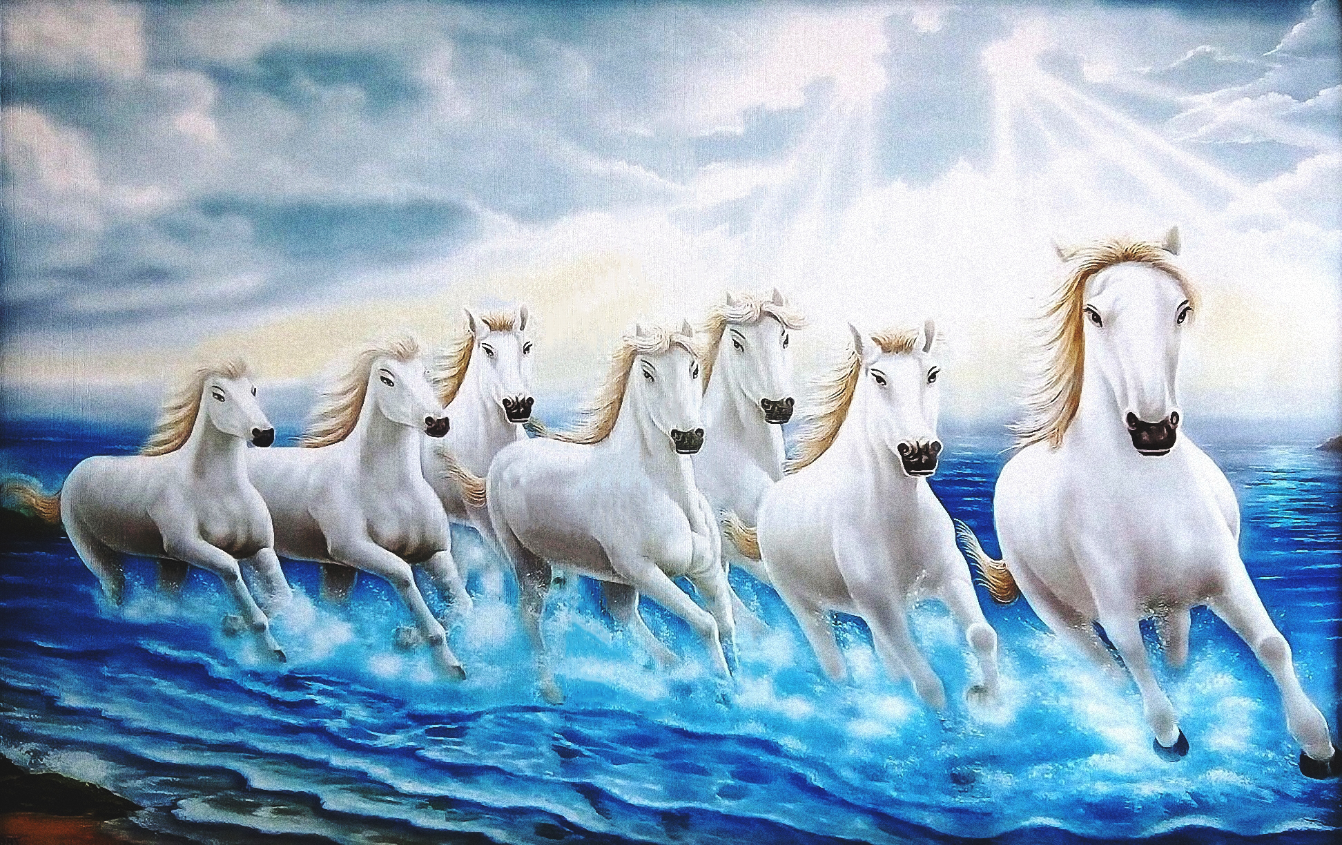 Blue seven horse